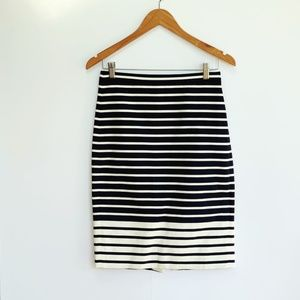 J. CREW navy + off white pencil skirt size 0